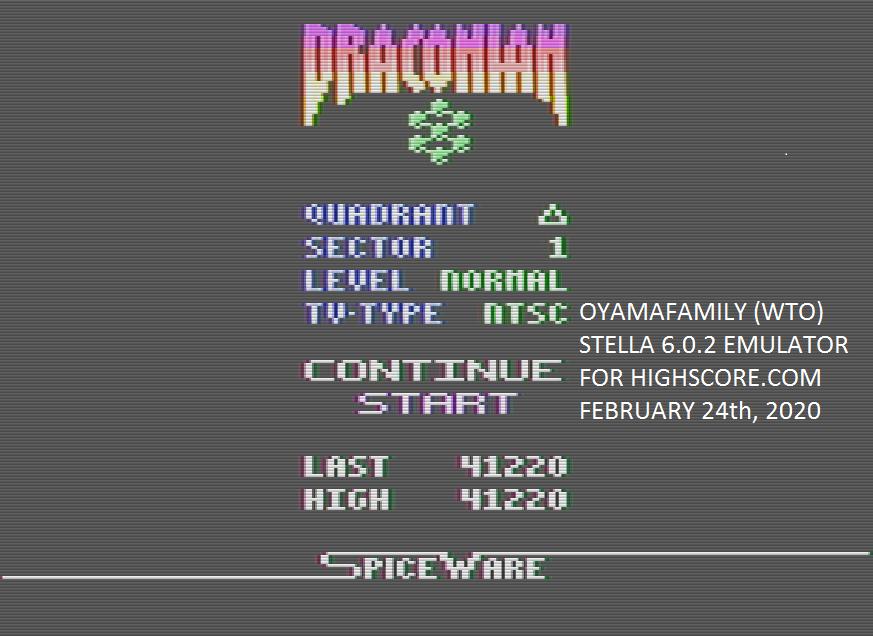 oyamafamily: Draconian: Quadrant Delta / Sector 1 [Normal] (Atari 2600 Emulated) 41,220 points on 2020-02-24 12:32:19