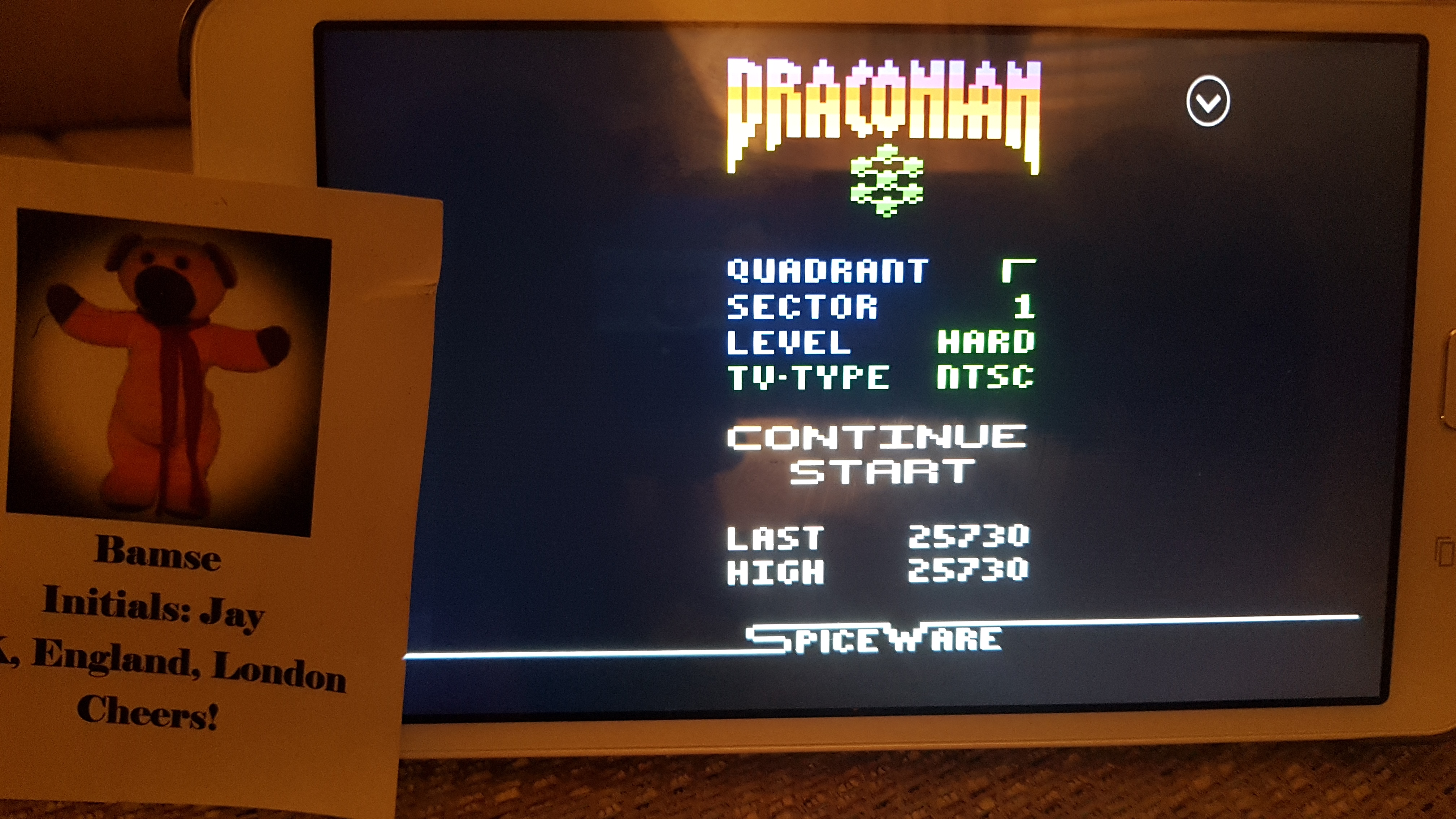 Bamse: Draconian: Quadrant Gamma / Sector 1 [Hard] (Atari 2600 Emulated) 25,730 points on 2019-07-03 17:55:27