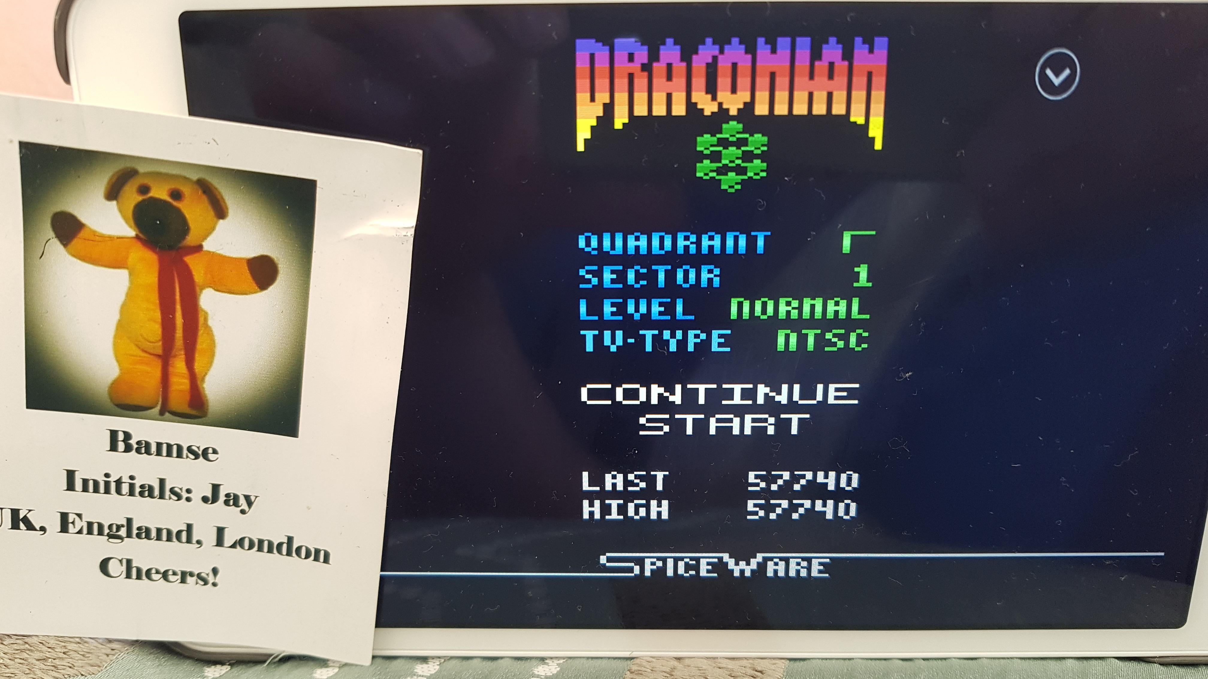 Bamse: Draconian: Quadrant Gamma / Sector 1 [Normal] (Atari 2600 Emulated) 57,740 points on 2019-07-04 10:34:04