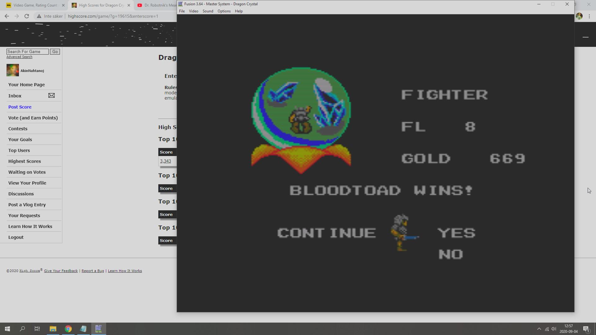 AkinNahtanoj: Dragon Crystal (Sega Master System Emulated) 669 points on 2020-09-04 06:33:25
