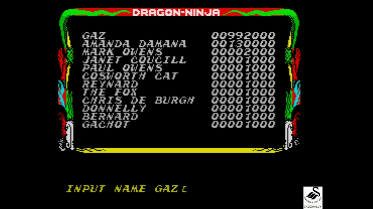gazzhally: Dragon Ninja (ZX Spectrum Emulated) 992,000 points on 2018-11-01 14:57:06