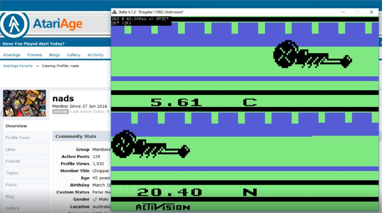 nads: Dragster (Atari 2600 Emulated Expert/A Mode) 0:00:05.61 points on 2018-03-11 06:42:58