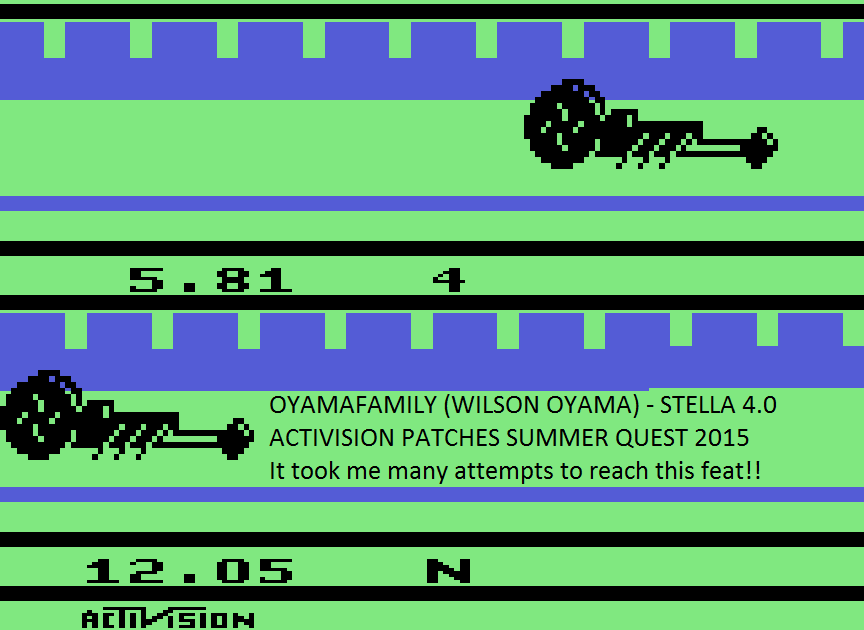 oyamafamily: Dragster (Atari 2600 Emulated Novice/B Mode) 0:00:05.81 points on 2015-09-03 17:02:46