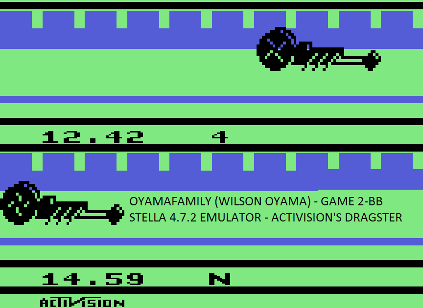 oyamafamily: Dragster: Game 2 (Atari 2600 Emulated Novice/B Mode) 0:00:12.42 points on 2017-02-07 18:43:52