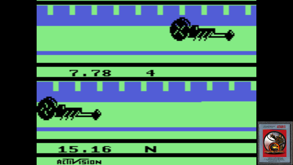 omargeddon: Dragster: Game 2 (Atari 2600 Emulated Novice/B Mode) 0:00:07.78 points on 2017-06-15 23:27:58