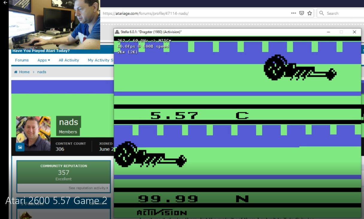 nads: Dragster: Game 2 (Atari 2600 Emulated Novice/B Mode) 0:00:05.57 points on 2019-11-16 19:03:57