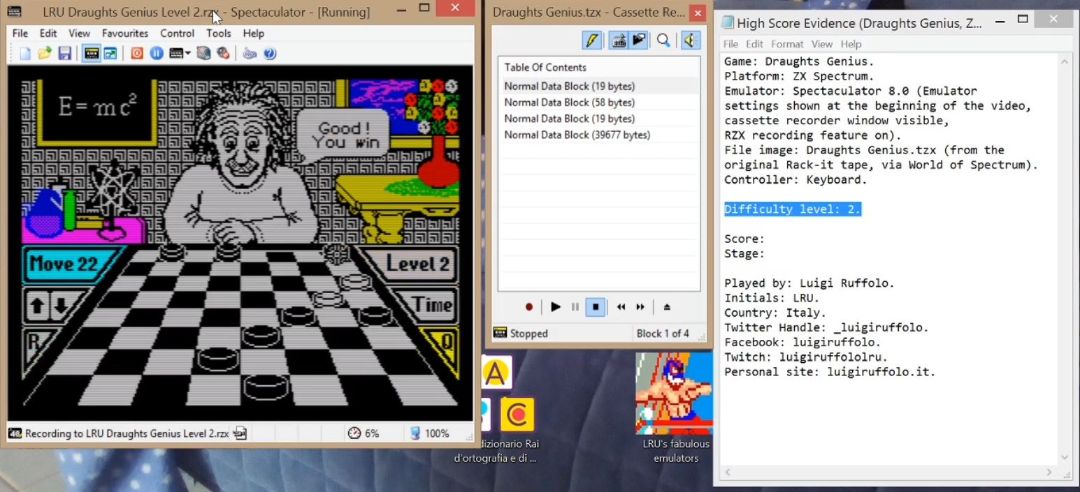 LuigiRuffolo: Draughts Genius [Level 2][Moves to Win] (ZX Spectrum Emulated) 22 points on 2020-06-24 10:41:10