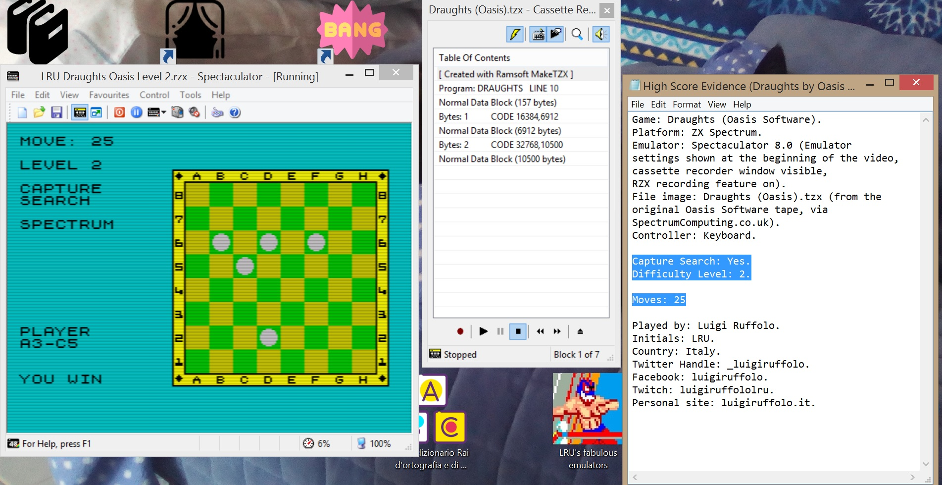 LuigiRuffolo: Draughts [Oasis Software][Level 2: Capture Search][Moves to Win] (ZX Spectrum Emulated) 25 points on 2020-06-27 07:30:03