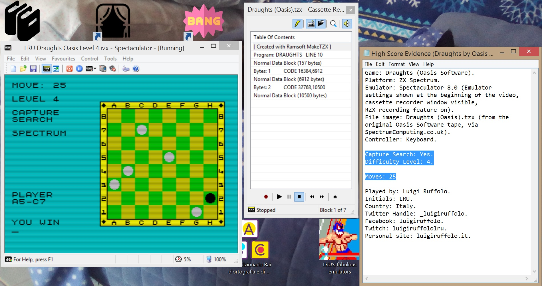 LuigiRuffolo: Draughts [Oasis Software][Level 4: Capture Search][Moves to Win] (ZX Spectrum Emulated) 25 points on 2020-06-30 04:02:01