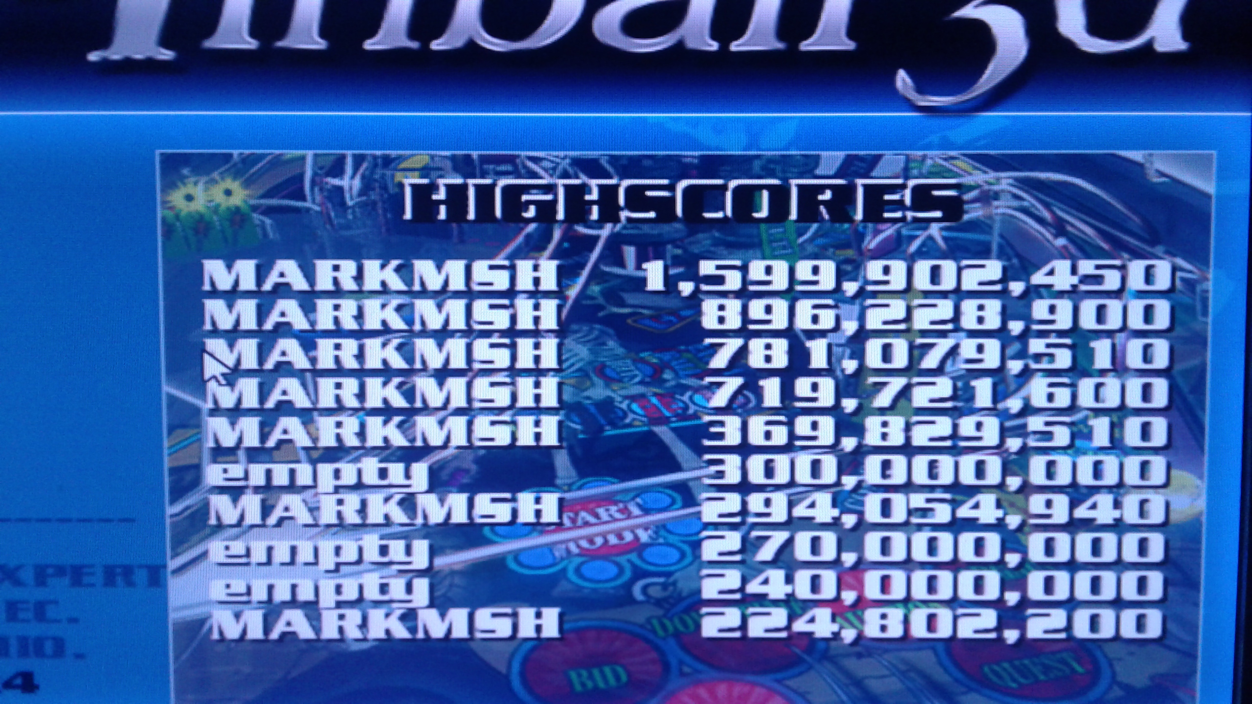 Mark: Dream Pinball 3D: Amber Moon [Easy] (PC Emulated / DOSBox) 1,599,902,450 points on 2019-05-15 23:49:03