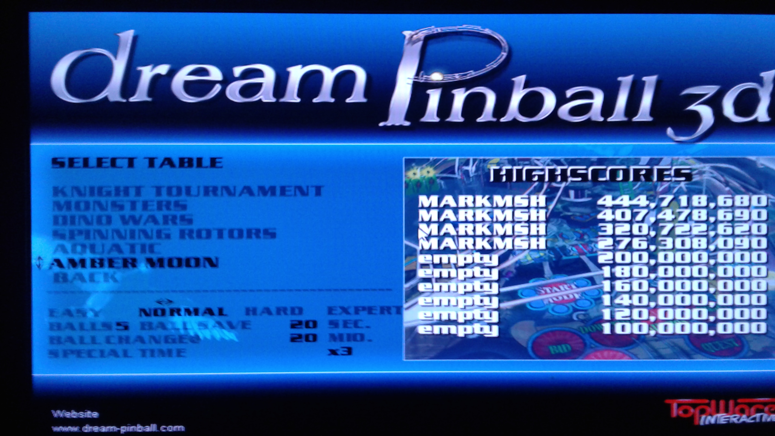 Mark: Dream Pinball 3D: Amber Moon [Normal] (PC Emulated / DOSBox) 444,718,680 points on 2019-05-17 01:02:39