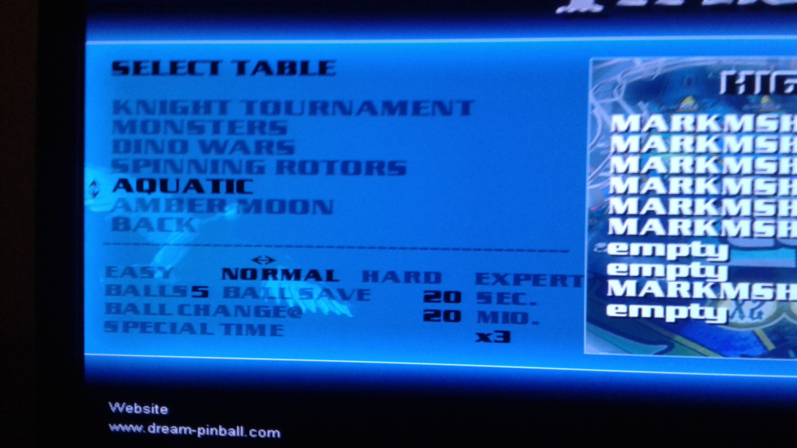 Mark: Dream Pinball 3D: Aquatic [Normal] (PC Emulated / DOSBox) 1,664,328,180 points on 2019-05-20 00:48:22