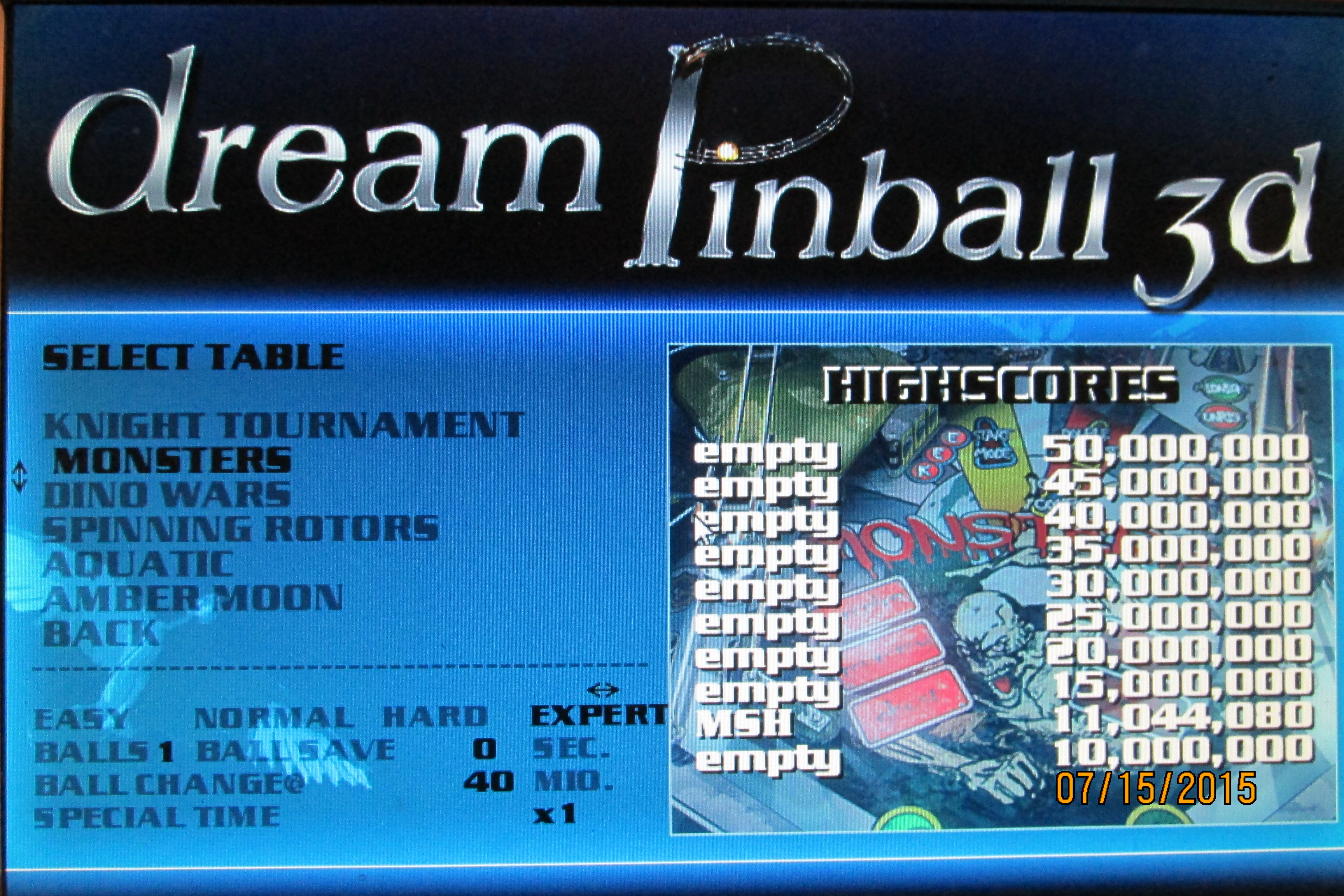 Mark: Dream Pinball 3D: Monsters [Expert] (PC) 11,044,080 points on 2015-07-19 01:38:49