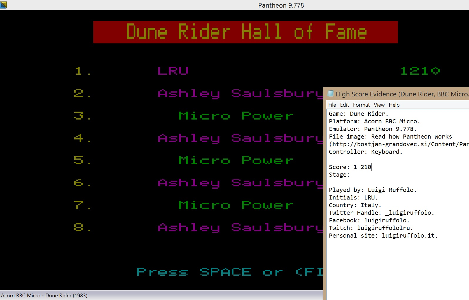 LuigiRuffolo: Dune Rider (BBC Micro Emulated) 1,210 points on 2020-07-31 17:54:41