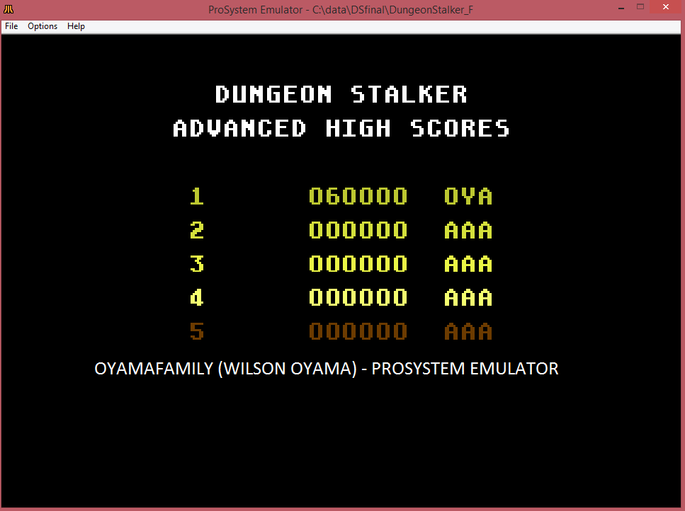 oyamafamily: Dungeon Stalker [Advanced] (Atari 7800 Emulated) 60,000 points on 2016-03-12 12:11:27