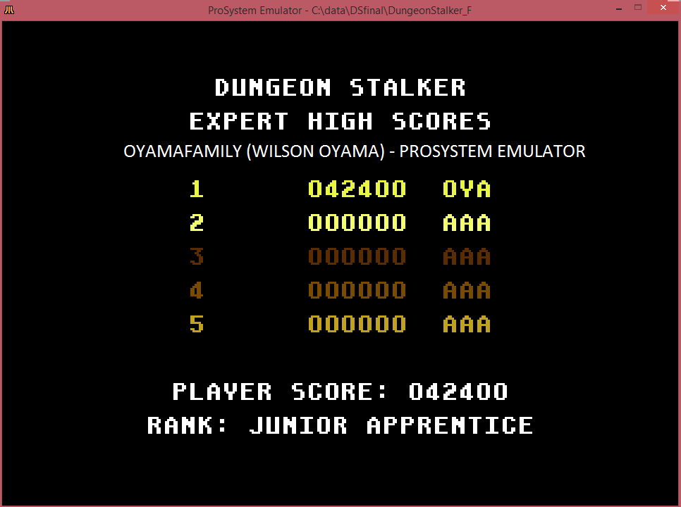 oyamafamily: Dungeon Stalker [Expert] (Atari 7800 Emulated) 42,400 points on 2016-03-12 12:11:58