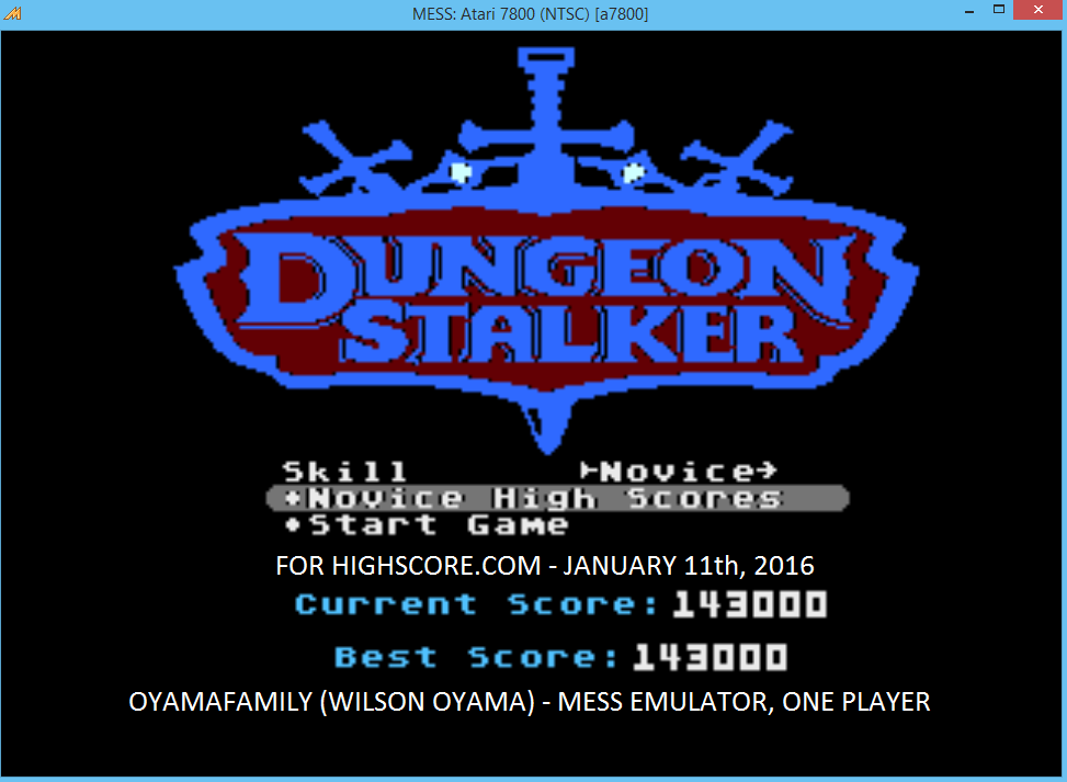 oyamafamily: Dungeon Stalker [Novice] (Atari 7800 Emulated) 143,000 points on 2016-01-11 18:20:28