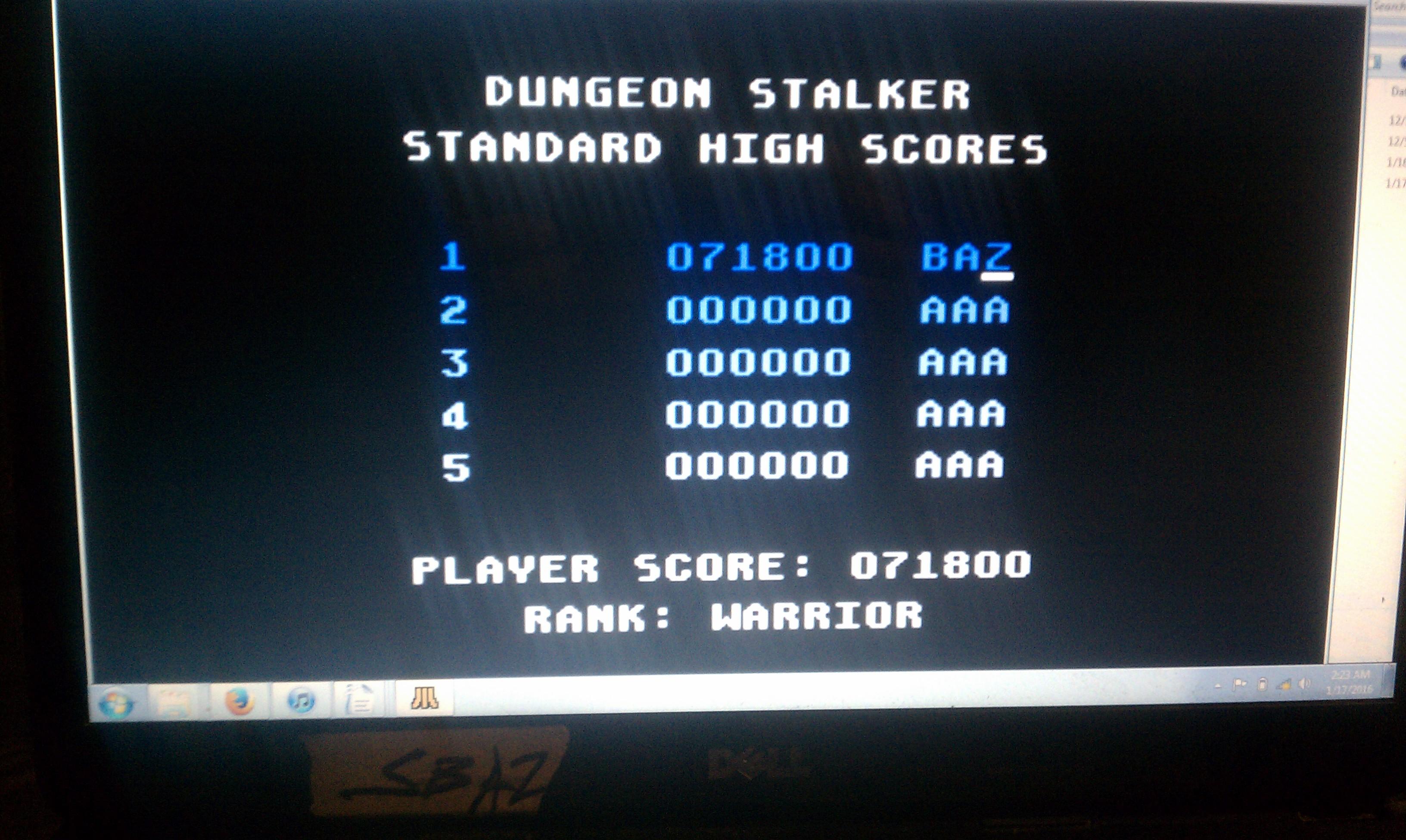 S.BAZ: Dungeon Stalker [Standard] (Atari 7800 Emulated) 71,800 points on 2016-02-10 01:39:17