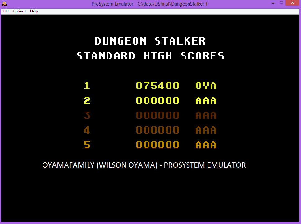 oyamafamily: Dungeon Stalker [Standard] (Atari 7800 Emulated) 75,400 points on 2016-03-12 12:11:42