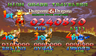 TRBMetroidTeam: Dungeons & Dragons: Shadows over Mystara [ddsom] (Arcade Emulated / M.A.M.E.) 240,850 points on 2018-09-07 21:21:48