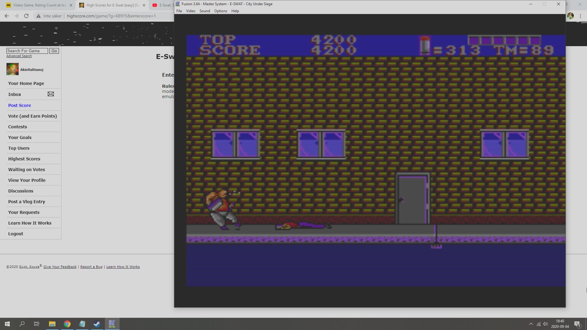 AkinNahtanoj: E-Swat [easy] (Sega Master System Emulated) 4,200 points on 2020-09-04 11:43:32