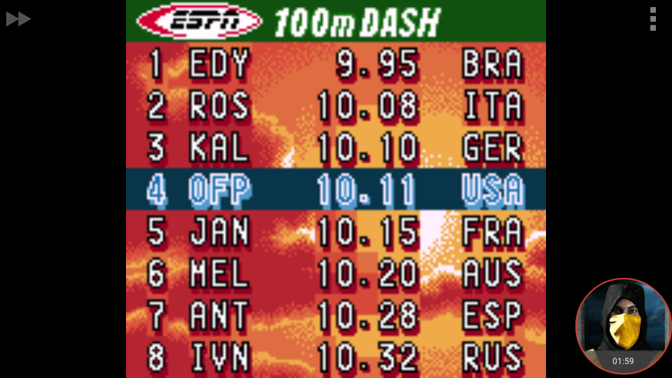 omargeddon: ESPN International Track & Field: 100m Dash (Game Boy Color Emulated) 0:00:10.11 points on 2018-01-19 20:23:02