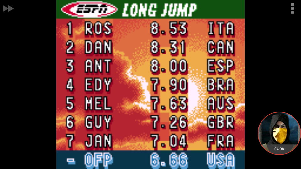 omargeddon: ESPN International Track & Field: Long Jump [Centimeters] (Game Boy Color Emulated) 666 points on 2018-01-19 20:24:48