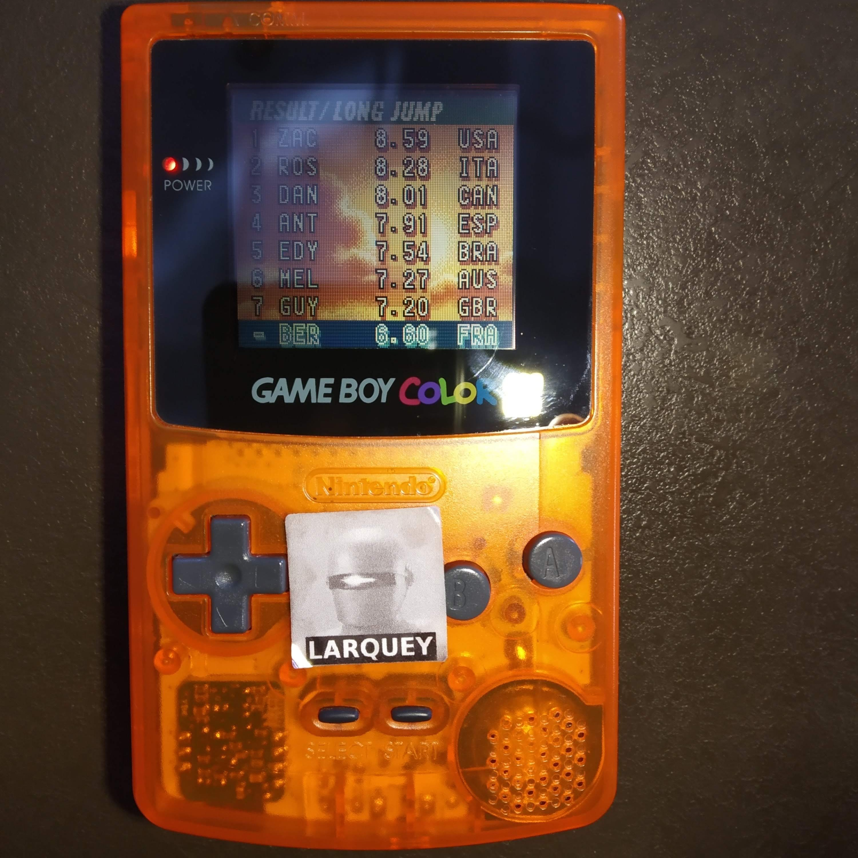Larquey: ESPN International Track & Field: Long Jump [Centimeters] (Game Boy Color) 660 points on 2020-07-29 06:10:16