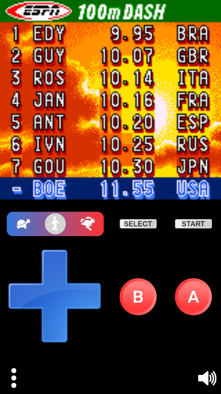 Boegas: ESPN International Track & Field: 100m Dash (Game Boy Color Emulated) 0:00:11.55 points on 2018-12-26 18:38:33
