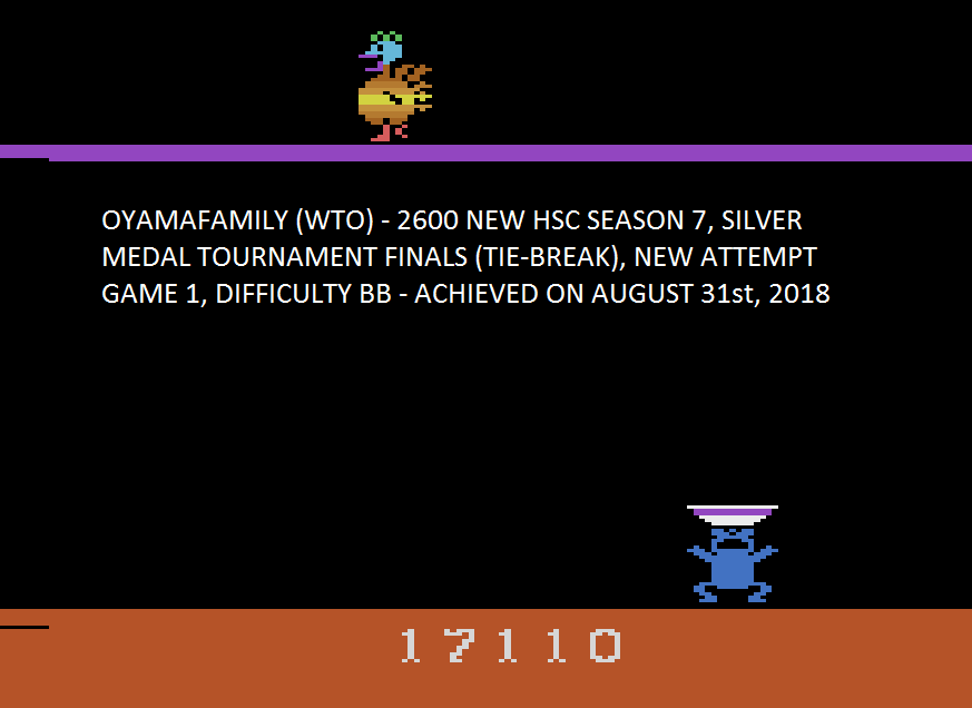 oyamafamily: Eggomania (Atari 2600 Emulated Novice/B Mode) 17,110 points on 2018-09-30 13:34:24