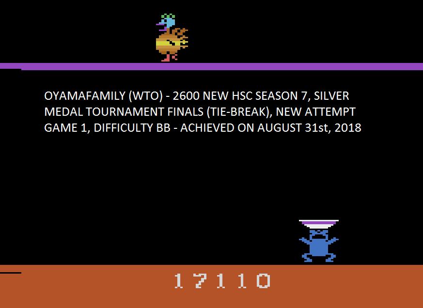 oyamafamily: Eggomania (Atari 2600 Emulated Novice/B Mode) 17,110 points on 2018-09-30 13:34:24