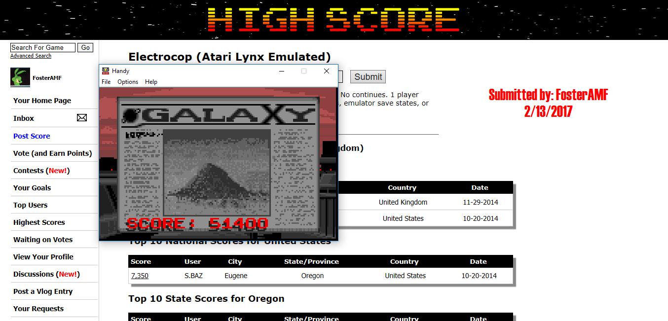 FosterAMF: Electrocop (Atari Lynx Emulated) 51,400 points on 2017-02-13 18:26:57
