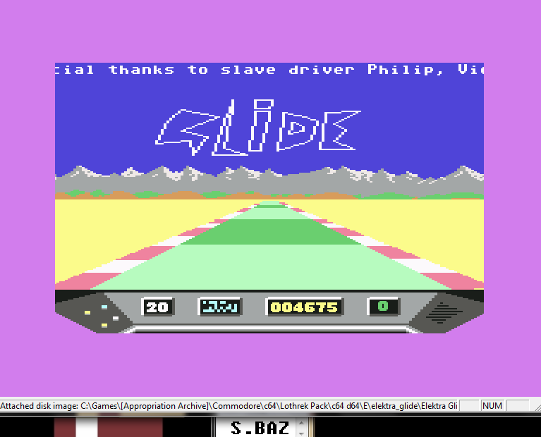 S.BAZ: Elektra Glide (Commodore 64 Emulated) 4,675 points on 2016-05-27 16:48:56