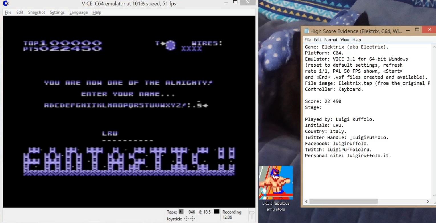 LuigiRuffolo: Elektrix (Commodore 64 Emulated) 22,450 points on 2020-06-17 17:34:19
