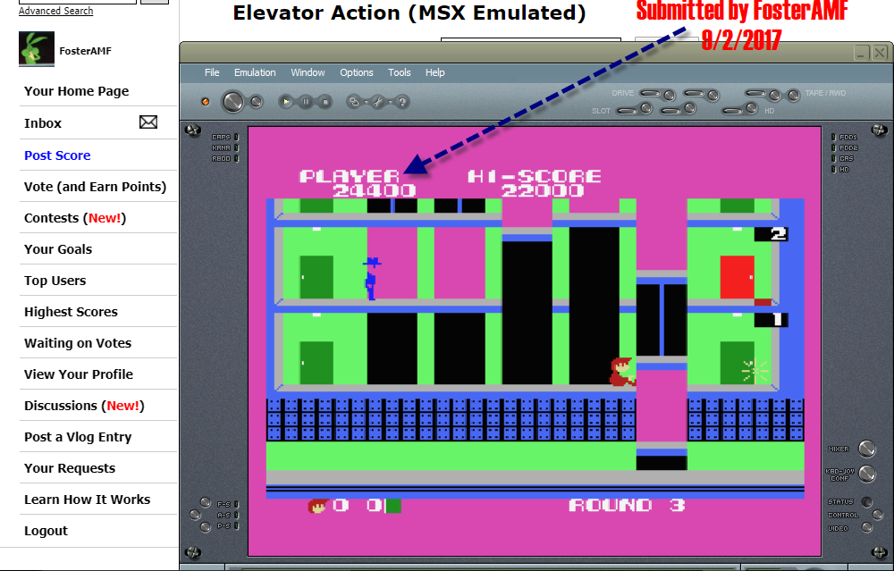 FosterAMF: Elevator Action (MSX Emulated) 24,400 points on 2017-09-02 17:23:11