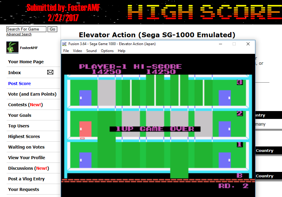 FosterAMF: Elevator Action (Sega SG-1000 Emulated) 14,250 points on 2017-02-27 17:44:52
