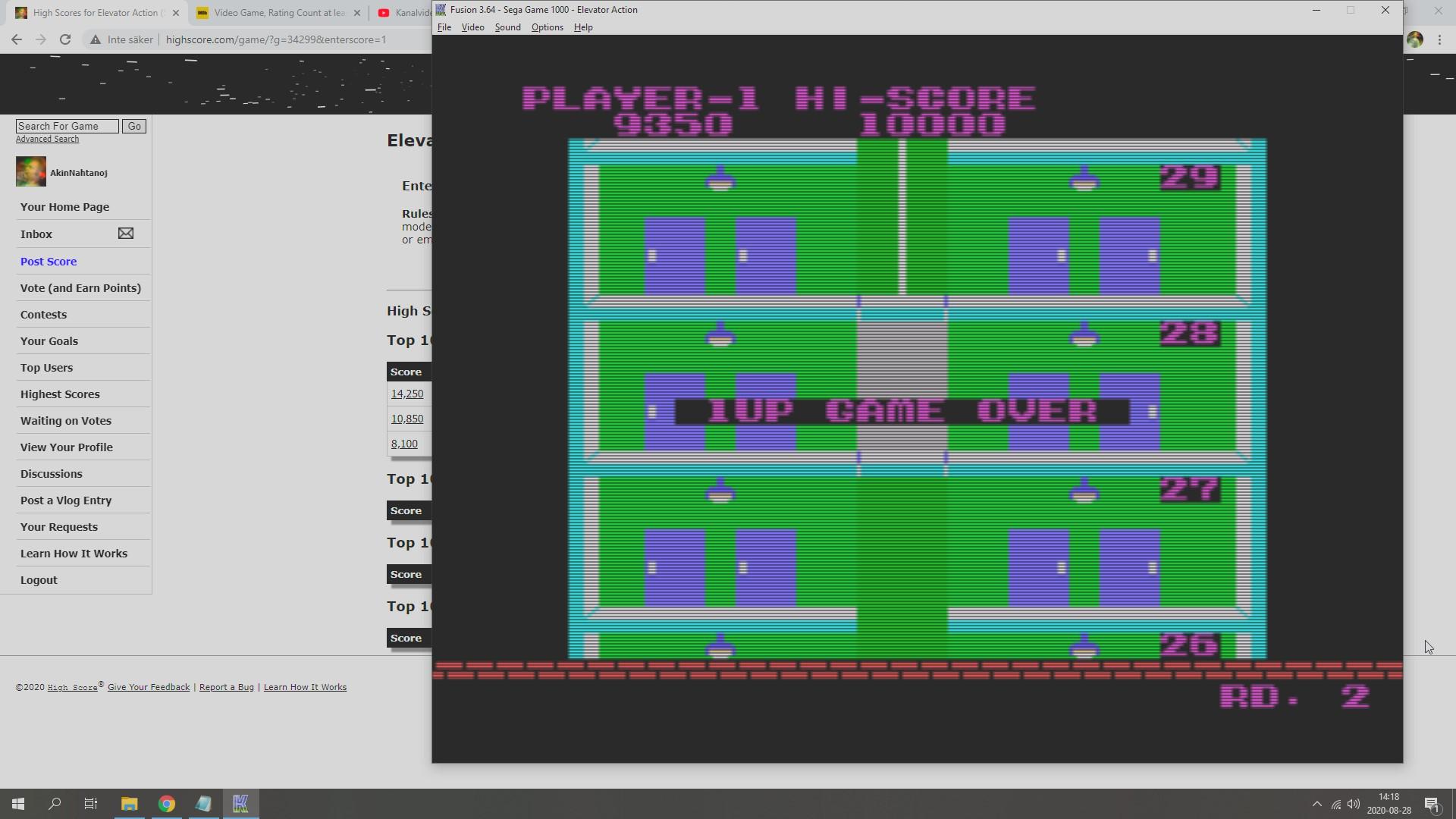 AkinNahtanoj: Elevator Action (Sega SG-1000 Emulated) 9,350 points on 2020-08-28 07:29:34