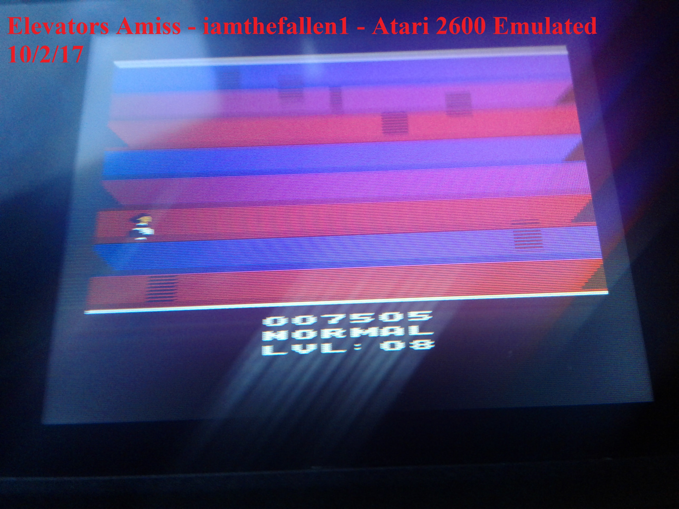 iamthefallen1: Elevators Amiss (Atari 2600 Emulated Novice/B Mode) 7,505 points on 2017-10-02 03:12:46