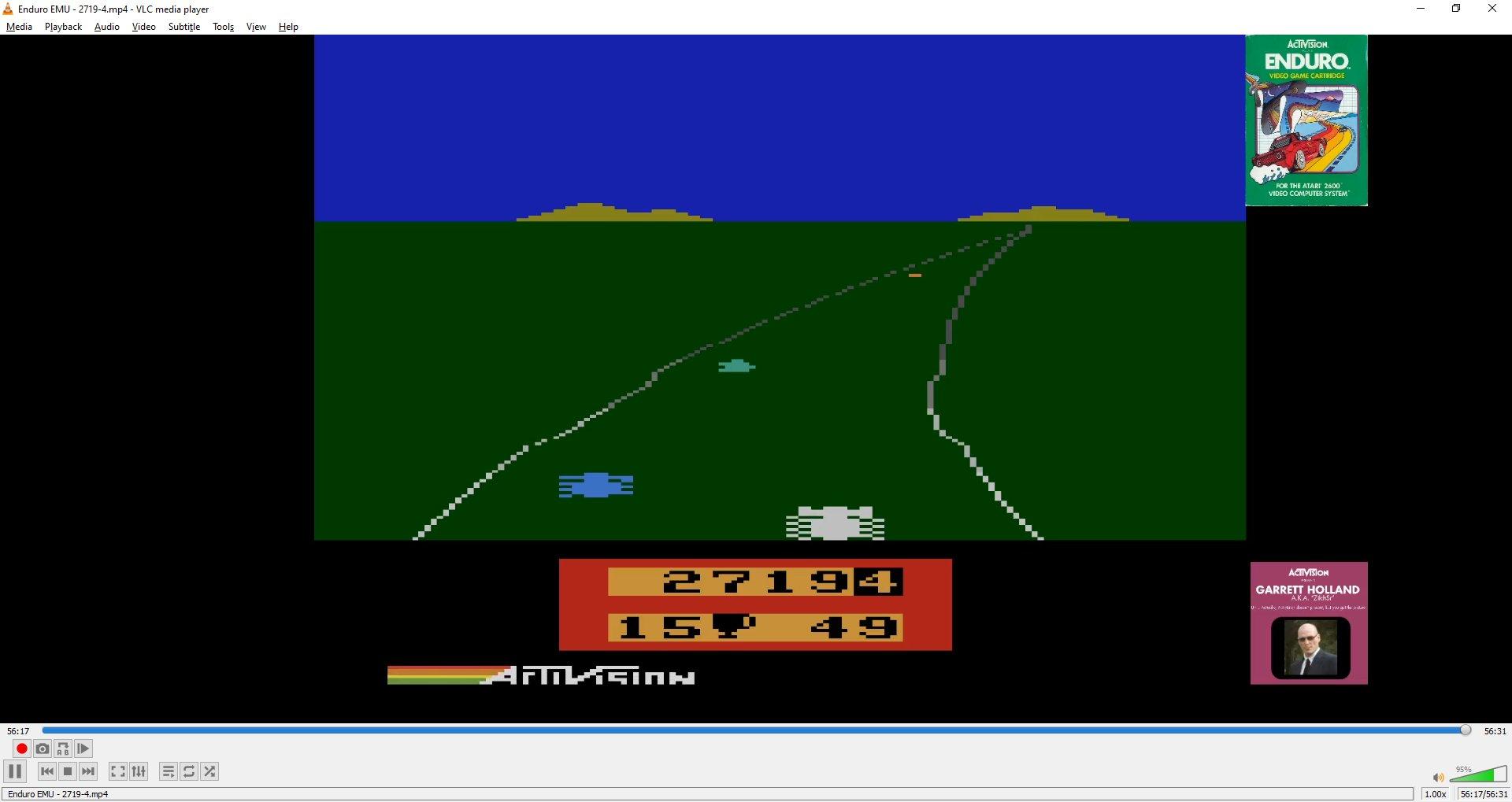 ZilchSr: Enduro  (Atari 2600 Emulated Novice/B Mode) 2,719 points on 2021-01-02 19:59:08