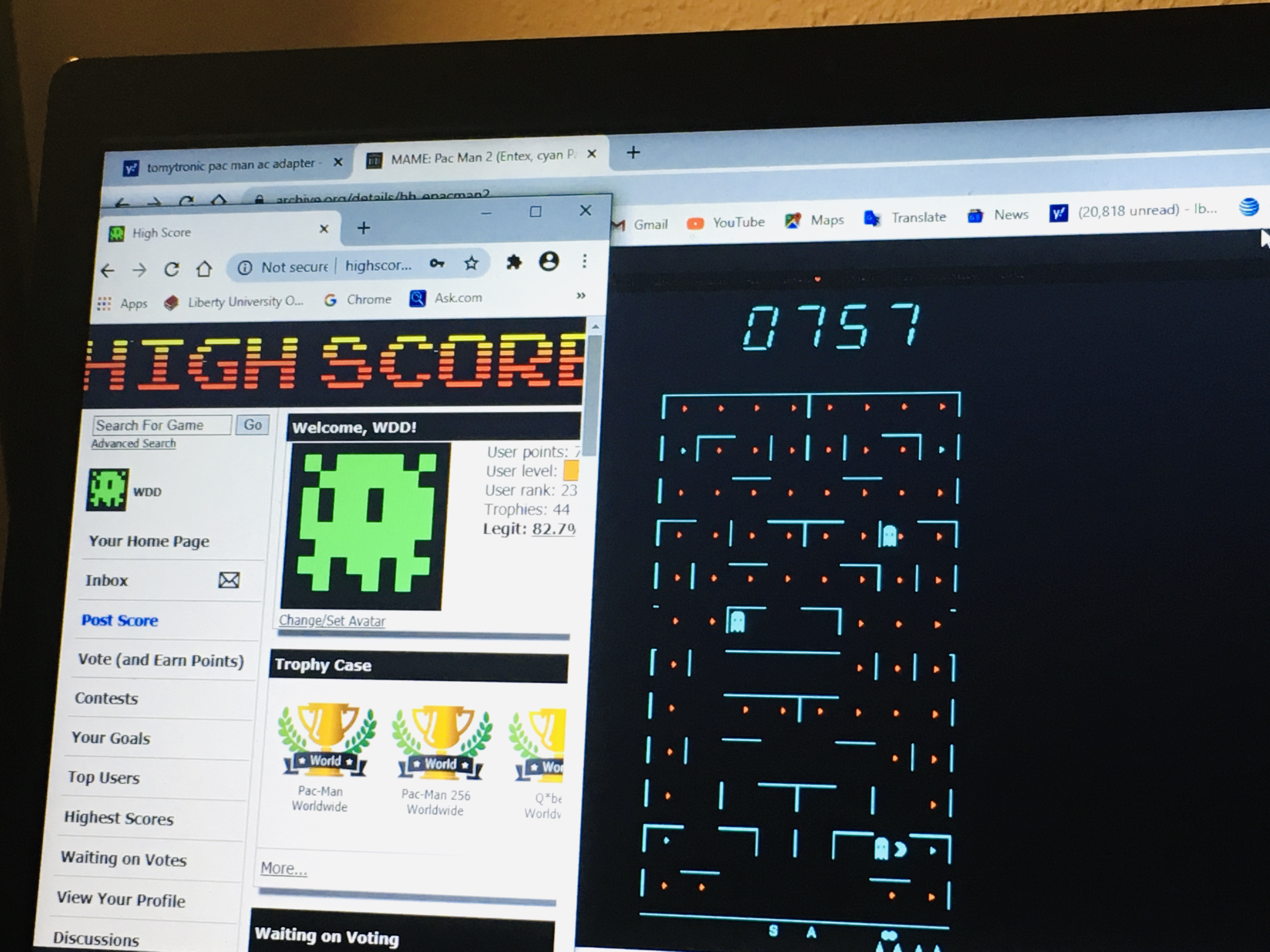 Entex Pac-Man 2 757 points