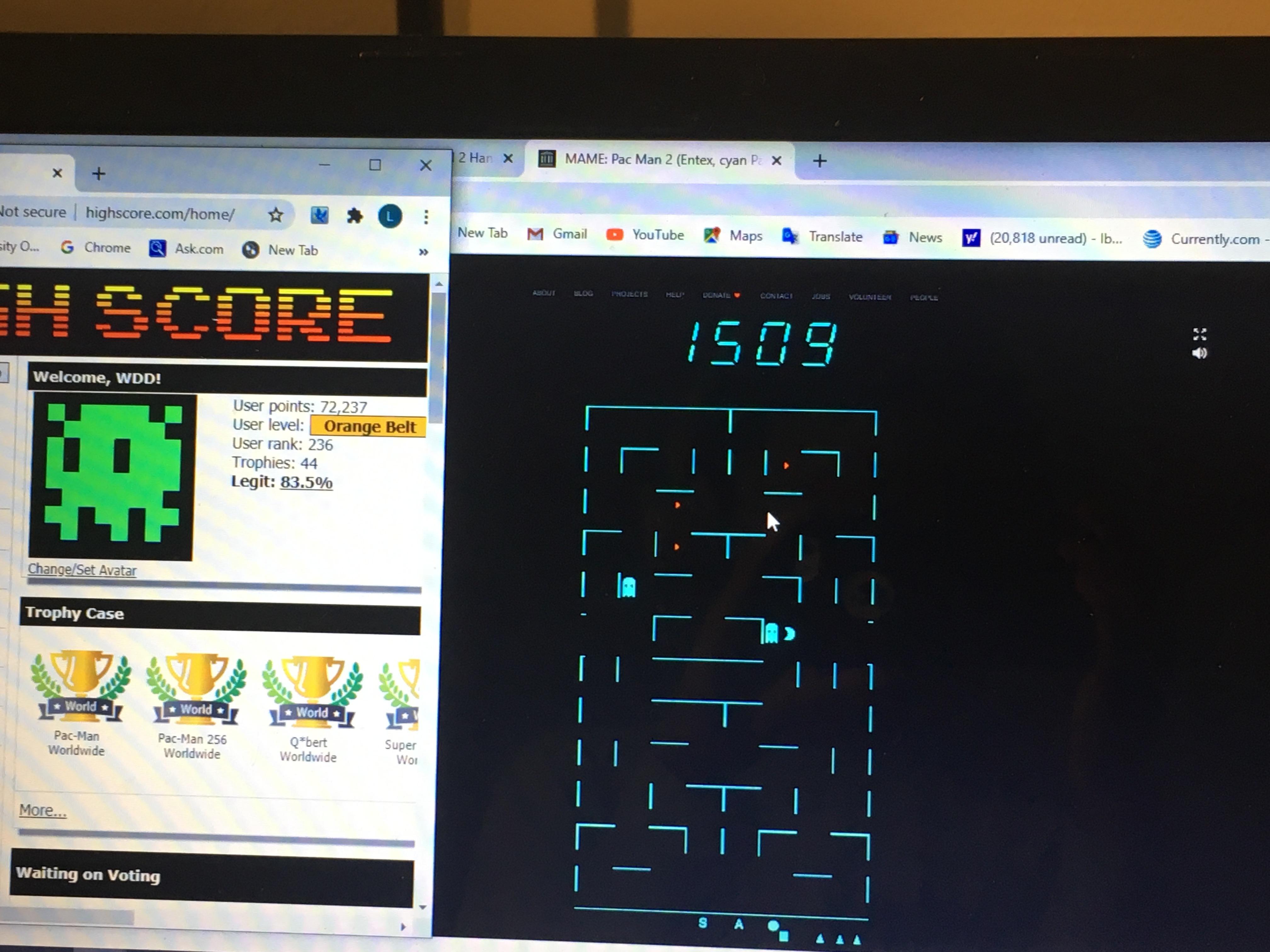 Entex Pac-Man 2 [Skill 2] 1,509 points