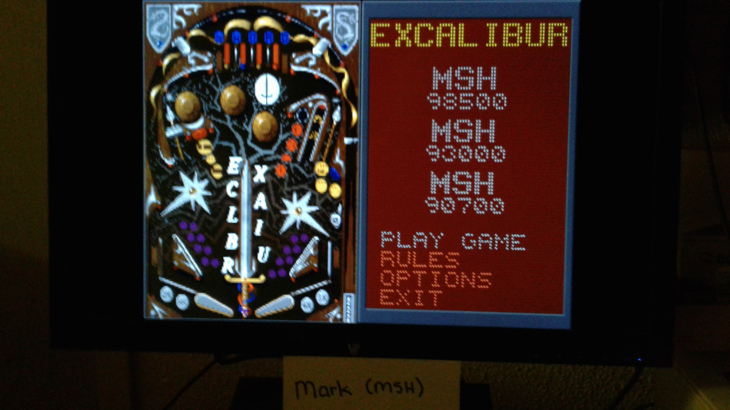 Mark: Epic Pinball: Excalibur (PC Emulated / DOSBox) 98,500 points on 2019-05-12 00:00:51