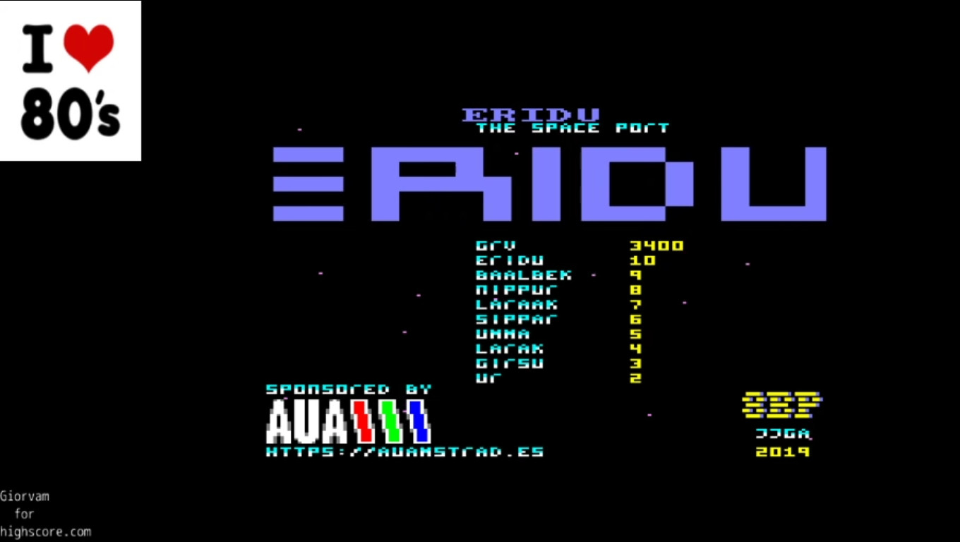 Giorvam: Eridu The Space Port (Amstrad CPC Emulated) 3,400 points on 2020-01-06 08:18:22