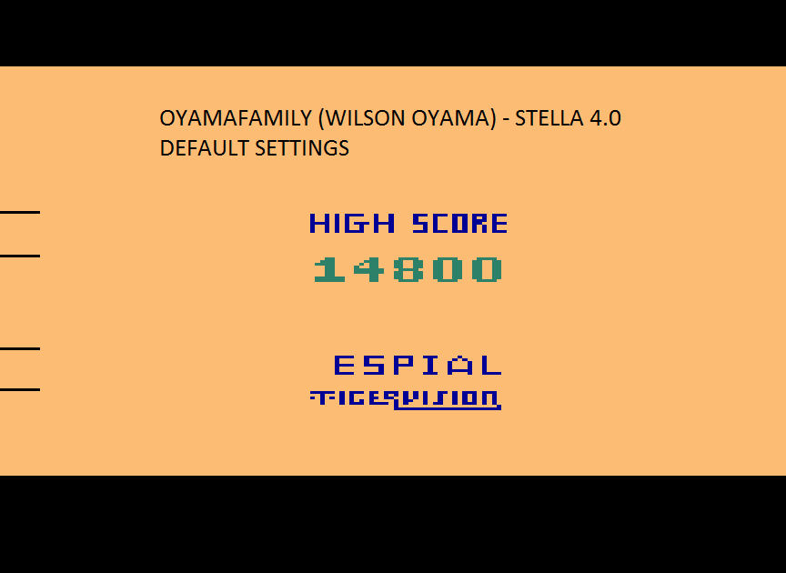 oyamafamily: Espial (Atari 2600 Emulated) 14,800 points on 2015-08-14 21:00:38