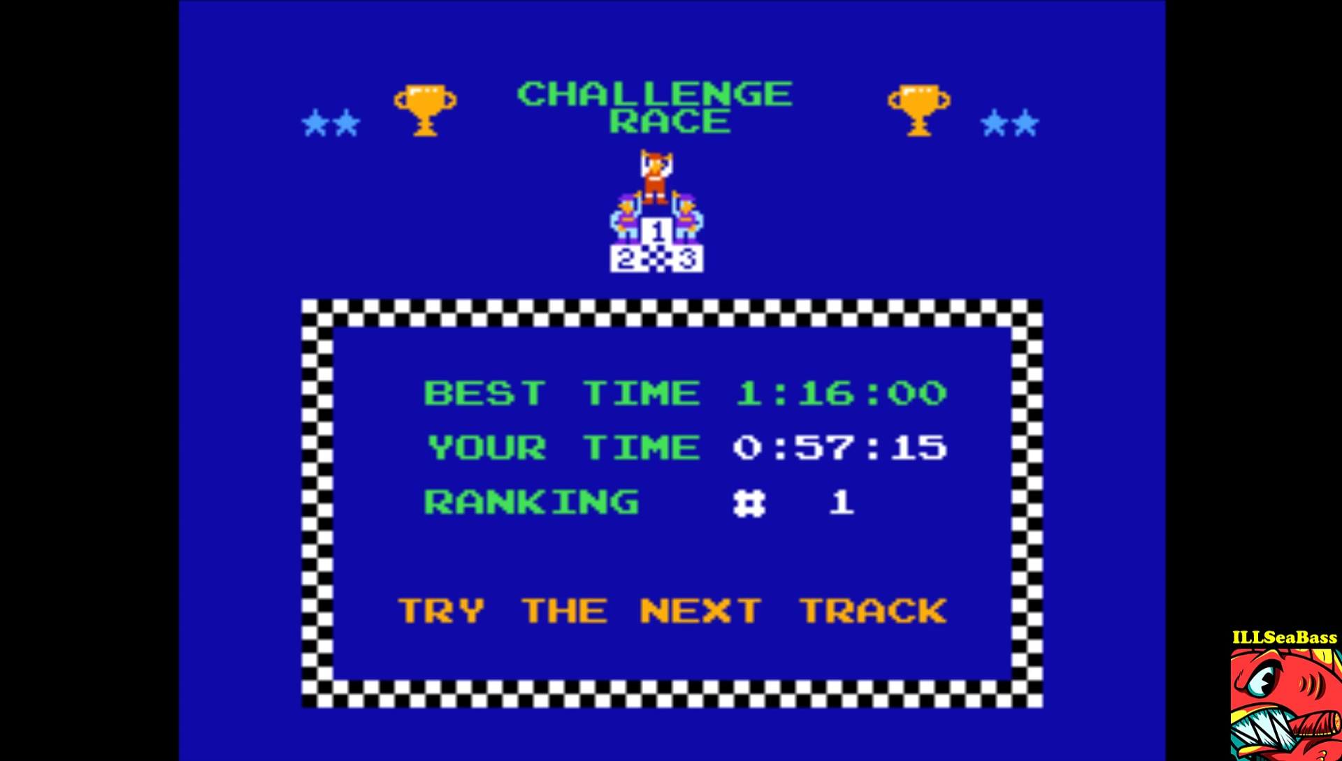 Excitebike: Track 1 time of 0:00:57.15