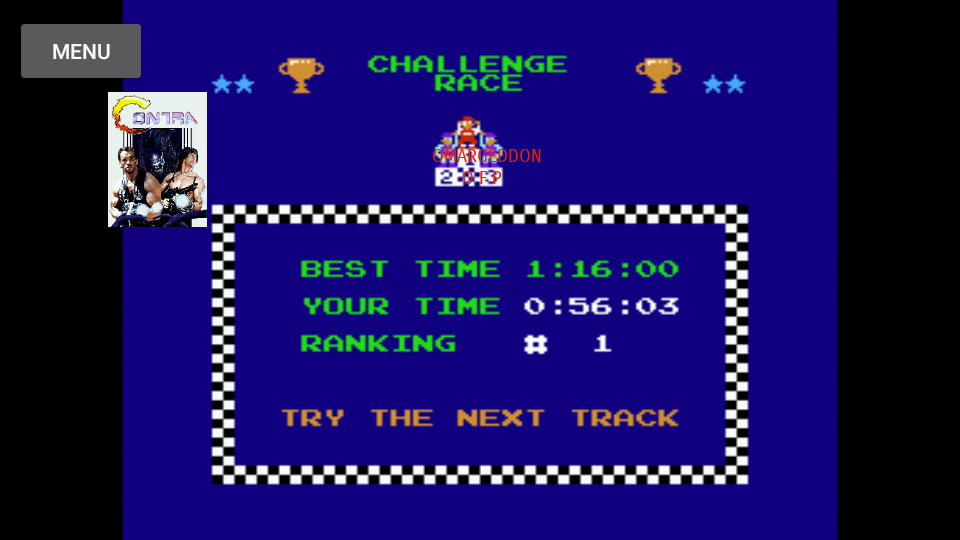 Excitebike: Track 1 time of 0:00:56.03