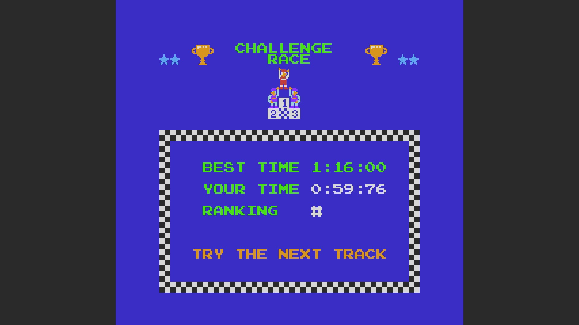 Excitebike: Track 1 time of 0:00:59.76