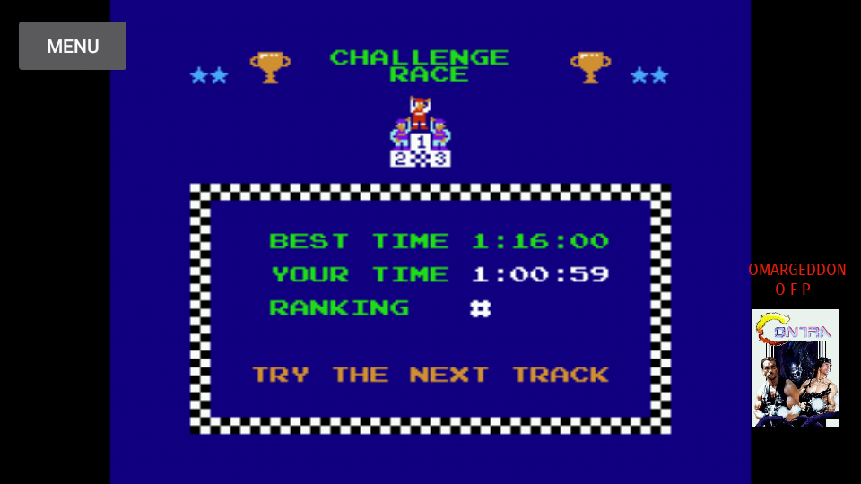 Excitebike: Track 1 [Selection B] time of 0:01:00.59