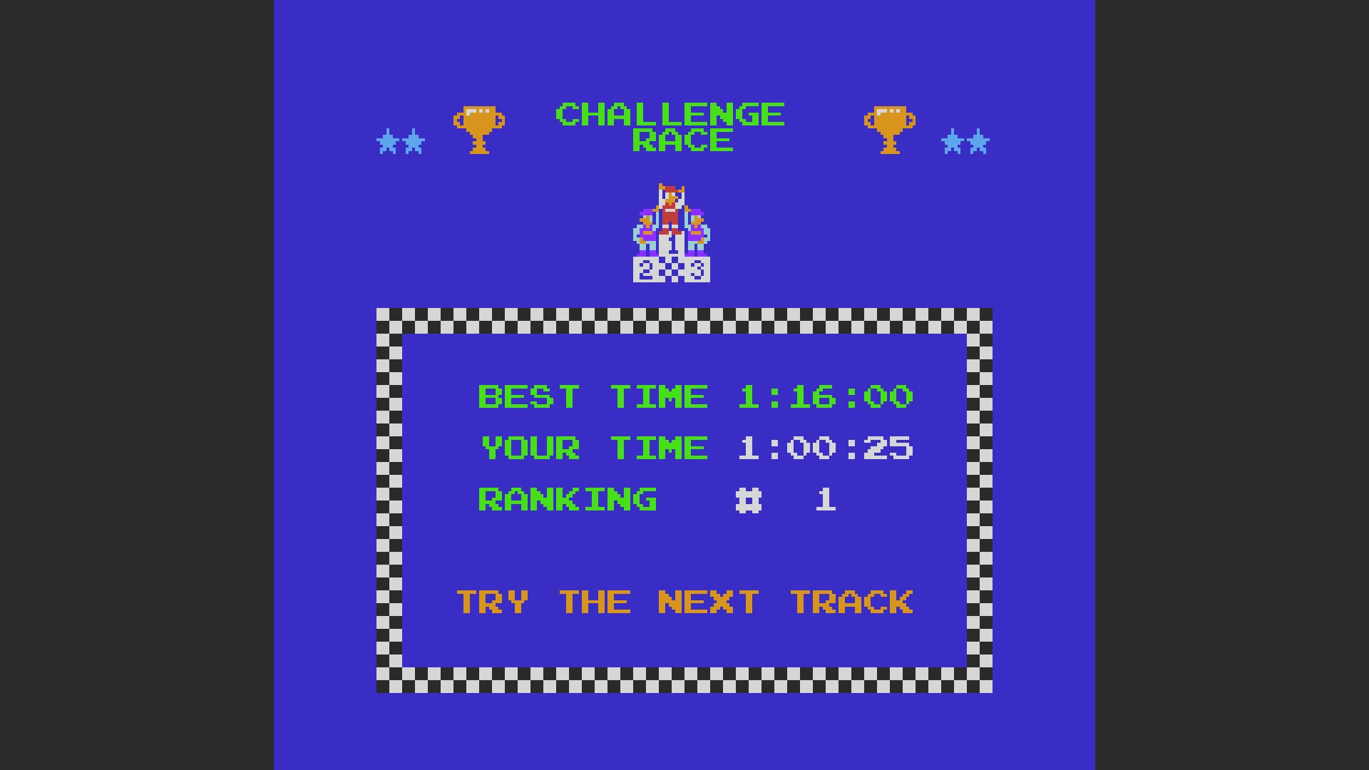 Excitebike: Track 2 time of 0:01:00.25