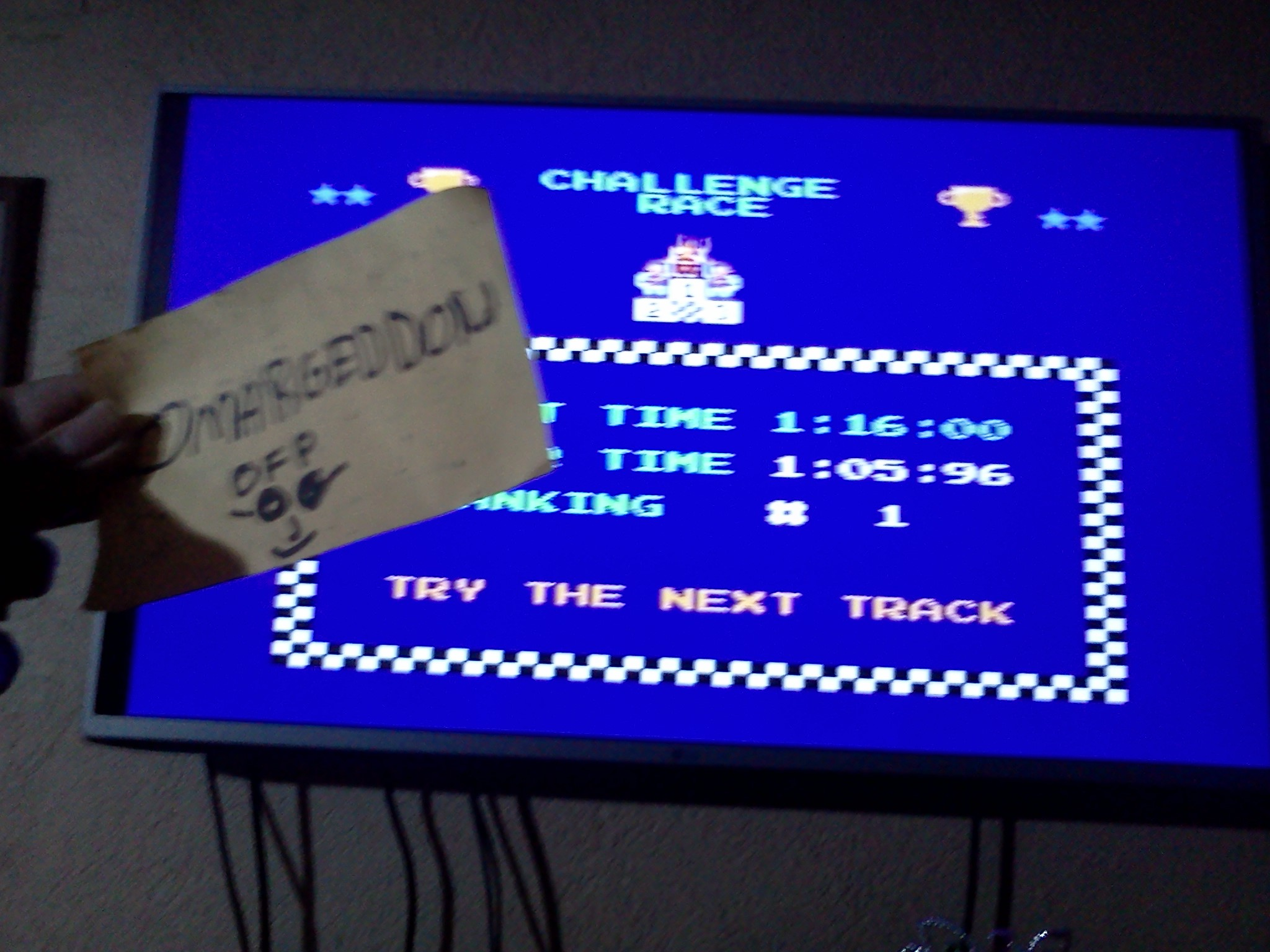 Excitebike: Track 3 time of 0:01:05.96